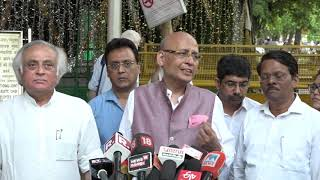 Abhishek Manu Singhvi addresses media after meeting with EC