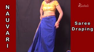 How to Wear Nauvari Saree - Marathi Nauvari Maharastrian wearing saree style - marathi stayle saree