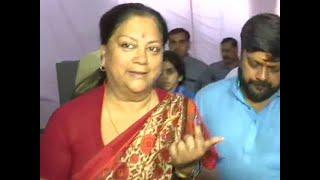 BJP leader Vasundhara Raje Scindia casts her vote at Jhalawar polling booth