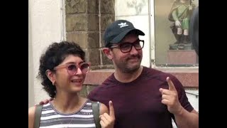 Actor Aamir Khan, wife Kiran Rao cast their votes at Bandra polling booth