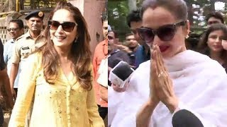 Rekha And Madhuri Dixit Spotted After VOTING In Mumbai