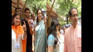 Shiv Sena chief Uddhav Thackeray casts his Vote in Mumbai with family