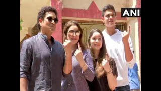 Election News LS 2019: Sachin Tendulkar casts his vote in Mumbai with family