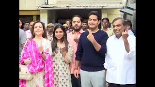 Mukesh Ambani and family cast their votes in Mumbai