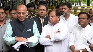Abhishek Manu Singhvi and Ahmad Patel addresses media after meeting with EC