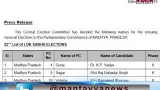 BJP announces list of four candidates for Lok Sabha polls 2019 - Mantavya News
