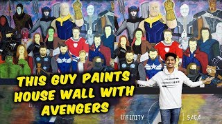 Avengers Endgame | This Guy PAINTS A Huge Poster of Avengers On His House Wall