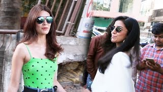 Kriti Sanon And Nimrat Kaur Spotted At Kromakay Salon Juhu