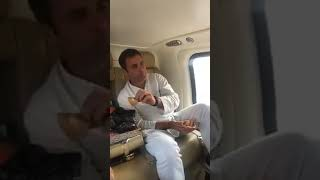Rahul Gandhi, in the election campaign, eating samosa in charter flight