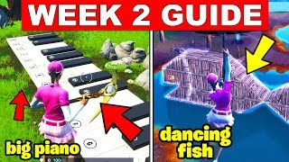Fortnite ALL Season 9 Week 2 Challenges Guide! Oversized Phone, Big Piano, giant Dancing Fish trophy