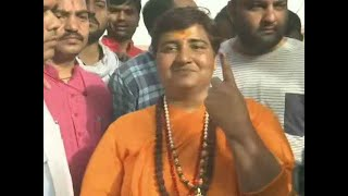 Sadhvi Pragya casts her vote in Bhopal