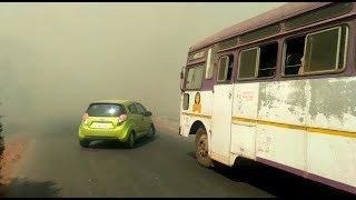 Dry Grass Fire on Mapusa-Guirim Highway hampers Traffic Flow