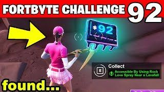 Accessible By Using Rock Love Spray Near a Lavafall FORTBYTE #92 LOCATION Fortnite Battle Royale