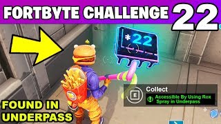 FORTBYTE #22 - Accessible By Using Rox Spray in Underpass LOCATION Fortnite Fortbyte 22 Challenge