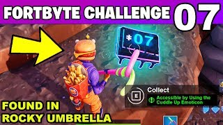 FORTBYTE #7 - Accessible by Using the Cuddle Up Emoticon inside a Rocky Umbrella LOCATION Fortnite
