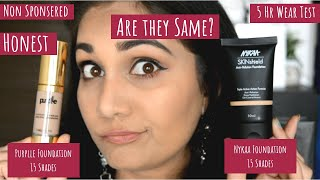 Nykaa SKINshield Anti Pollution Foundation Vs Purplle Foundation | Wear Test , Comparision & More