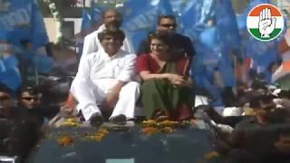 Smt. Priyanka Gandhi Vadra holds a roadshow in Kushinagar, Uttar Pradesh