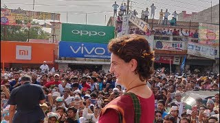Smt. Priyanka Gandhi Vadra addresses a public meeting in Kushinagar, Uttar Pradesh