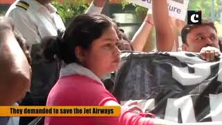 Jet Airways employees stage protest outside Safdarjung Airport
