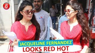 Jacqueline Fernandez Looks Red HOT As She Walks Towards Her Car