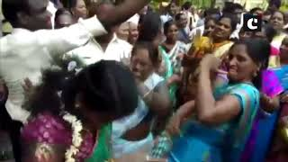 DMK workers celebrate outside party office ahead of LS results