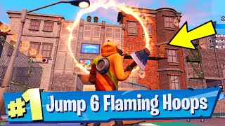 Jump through All 6 FLAMING HOOPS - Downtown Drop Challenge Guide (Fortnite Battle Royale)