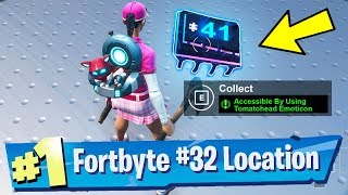 Fortnite Fortbyte #32 Location - Accessible by Wearing Kyo Pet Back Bling at the Most Northern Point