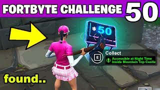 Fortnite Fortbyte #50 Accessible at Night Time Inside Mountain Top Castle Ruins Location