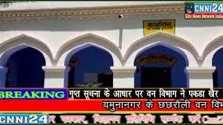 Cnni24.. यमुनानगर में कंहा पर खैर की लकड़ी पकड़ी और इतनी खैर की लकड़ कंहा .....