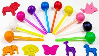 Learn Colors And Animals With Lollipop Play Doh Toys And Nursery Rhymes.