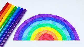 Learn Colors By Drawing Rainbow With Colorful Pens - Learning Video For Kids.