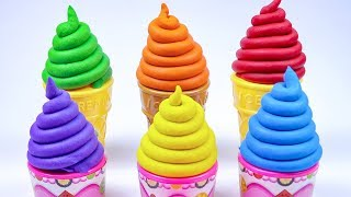 6 Colors Play Doh Swirl Ice Cream Cups Shape Cutting - Making Surprise Toys From Play Doh.