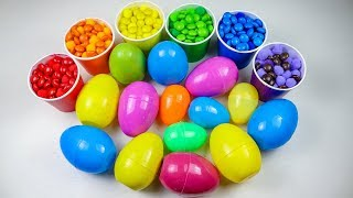 Learn Colors And Counting With Kinder Surprise Eggs and M&M chocolate Candy - Toys For Kids.
