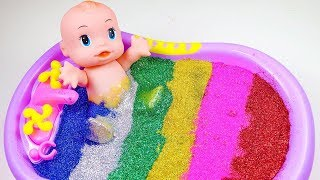Baby Doll Playing In Slime And Glitter - Bath And Swim Toys Video for Children.