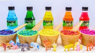 Learn Colors And Animal Names with Cola Surprise Bottles, Beads and Little Pony Surprise Toys.