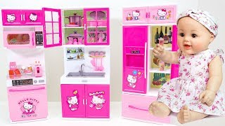 Hello Kitty Kitchen and Refrigerator Play House Toys with Baby Doll.