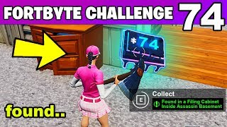 FORTBYTE #74 - Found in a Filing Cabinet Inside Assassin's Basement on Desert Coast Fortnite