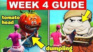 Fortnite ALL Season 9 Week 4 Challenges Guide! Dance Inside Holographic Tomato, Dur Burger, Dumpling