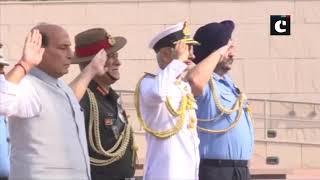 Defence Minister Rajnath Singh pays tribute to jawans at National War Memorial
