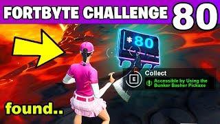 Fortnite Fortbyte #80 Location Accessible by Using the Bunker Basher Pickaxe, Volcano Rim
