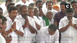 O Panneerselvam pays floral tributes to Jayalalithaa, MG Ramachandran