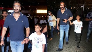 Ajay Devgn With Son Yug Devgn Spotted At Mumbai Airport