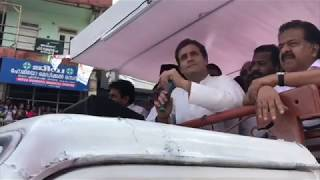 Congress President Rahul Gandhi addresses a gathering in Pulpally, Kerala