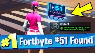 Fortnite Fortbyte #51 Location: Accessible by Using Cluck Strut in front of Peely's Banana Stand