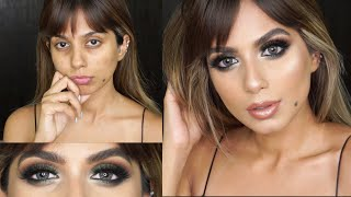 GLAM TRANSORMATION l Green Smokey Eyes Makeup Tutorial I Indian/Brown Skin