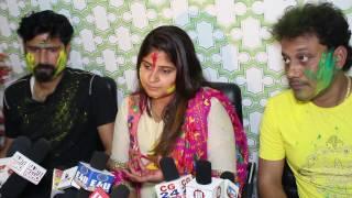 Actress Neha Shree Celebrate With Her Bhojpuri Film Chana Jor Garam Team First Holi in Mumbai.