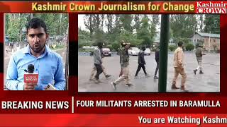 FOUR MILITANTS ARRESTED IN BARAMULLA PRESENTED BEFORE MEDIA