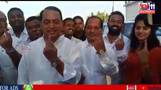 TS MINISTER INDRAKARAN REDDY CASTED HIS VOTE IN NIRMAL YELLAPALLI