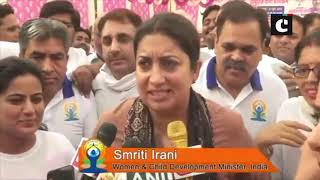 International Yoga Day: Smriti Irani performs yoga