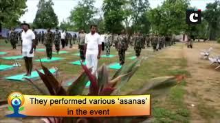 CRPF 74 Battalion performs yoga in Naxal-affected Dornapal area in Chhattisgarh's Sukma